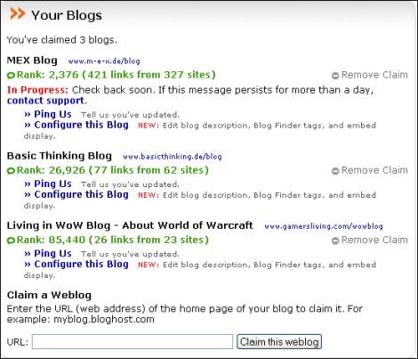 Blog Finder Konfiguration 1