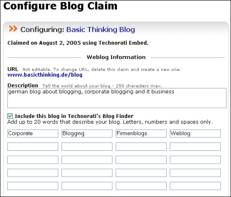 Technorati Blog Finder Konfiguration 2