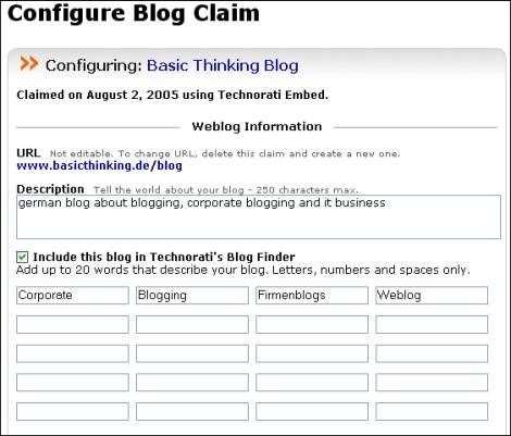 Technorati Blog Finder Konfiguration 2
