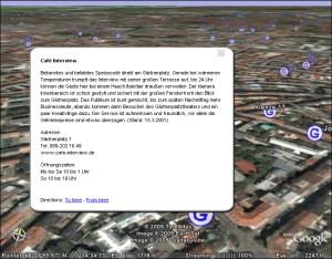 Infofenster, Beschreibung zur Kneipe