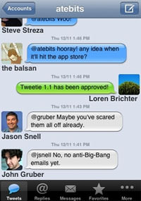 Tweetie App auf dem Apple iPhone